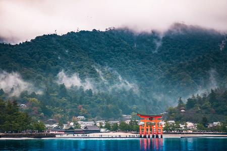 The famous Torii gate of Itsukushima Shrine, Miyajama, Hiroshima, Japan. Stock Photo