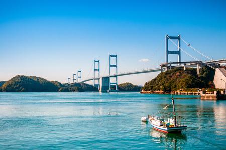 Kurushima Kaikyo Bridge cross over Seto inland sea. Ehime - Japan