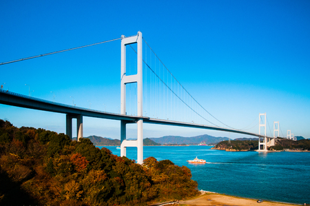 Kurushima Kaikyo Bridge cross over Seto inland sea. Ehime - Japan