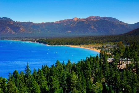 Lake Tahoe is a large freshwater lake in the Sierra Nevada Mountains Stock Photo