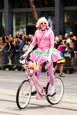 Cute pink biker joined the annual San Francisco  pride parade on June 30, 2008 Editorial