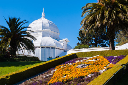 San Francisco Conservatory of flowers is the greenhouse in Golden Gate Park, exhibits rare and exotic plants from around the world. Photo was taken on Sep 19, 2008