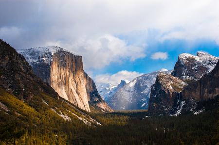 Yosemite Valley, El Capitan, Half dome from Tunnel View on a foggy day. Yosemite National Park, CA