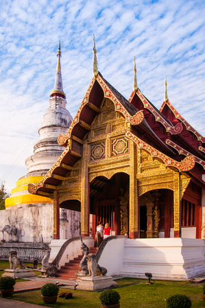 Wat Phra Singh temple, Chiang Mai, Thailand. Lanna architecture style.
