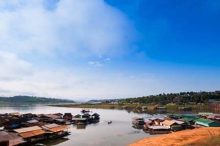 Local Water Village of Sangkhlaburi, Kanchanaburi, Thailand. Stock Photo