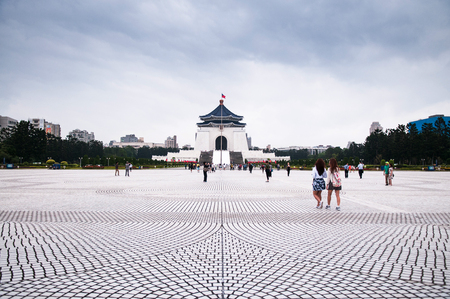Taiwan, Taipei - Oct 19, 2015 : The square of  Memorial Hall of President Chiang Kai-Shek. The most famous tourist attraction of Taipei. Stock Photo