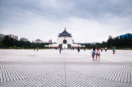 Taiwan, Taipei - Oct 19, 2015 : The square of  Memorial Hall of President Chiang Kai-Shek. The most famous tourist attraction of Taipei. Editorial