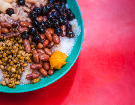 Baobing, Taiwanese shaved ice dessert with various kinds of bean
