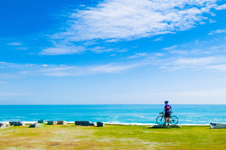 Scenery of Chishintan Beach with a bicycle, Hualien, Taiwan Imagens - 83799212