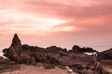 Rock cape, rock beach, Sunset sky in Oga-shi, Akita, Japan.