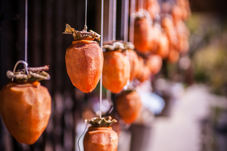 Dried Persimmon process in Yamagata, Japan.