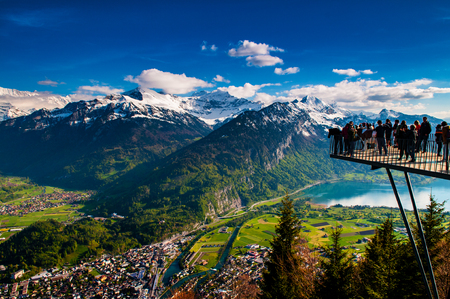 Aerial view of Interlaken and Swiss Alps from Harder Kulm 写真素材