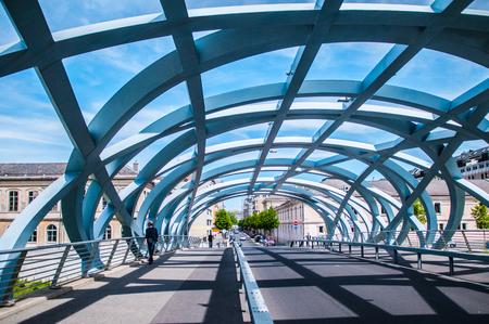 May 8, 2016 Geneva, Switzerland : Pont Hans-Wilsdorf bridge, Geneva, Switzerland. Design by architect Brodbeck and Roulet.