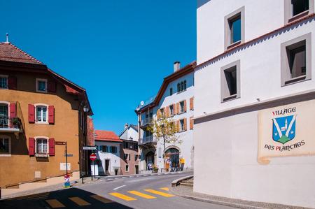 Small street at Village des planches, Montreux, Switzerland. Editorial