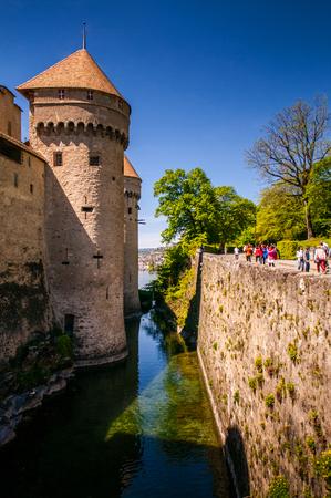montreux: Chillon castle, Lake Geneva near Montreux, Switzerland