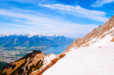 Rochers de Naye, part of the Swiss Alps near Montreux Stock Photo