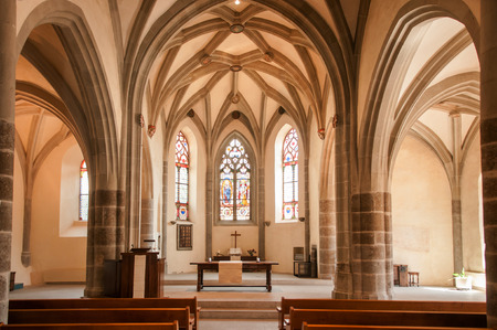 May 6, 2016 Lavaux, Switzerland : Saint-Saphorin church is famous old church in aint-Saphorin village, and was built in 1530 on the spot where there had been a mausoleum in the 5th century.