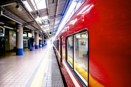 local 27: Yokohama, JAPAN - June 27, 2014 : local commutor train Keikyu line at Yokohama station, Japan. Editorial