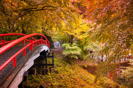 Red Bridge and autumn forest in Ikaho Onsen, Gunma, Japan