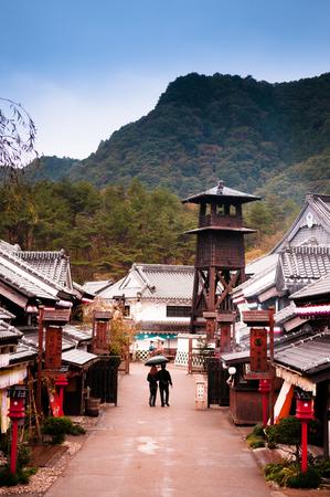 2014 年 10 月 20 日栃木県日光: 日光江戸村や日光江戸村、江戸時代の町の暮らしを再現する有名な文化テーマパーク