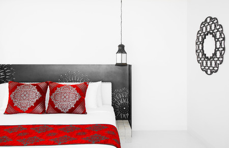 JUNE 8, 2012 Hua Hin, Thailand : Moroccan Style bedroom, Moroccan decoration details with colorful fabric and lamps 写真素材