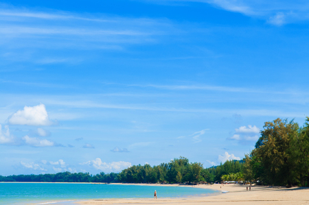 Sea and clear sky -  beach with tourist in Krabi, Thailand