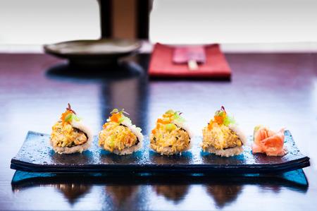 Crab Maki roll sushi, Japanese maki roll