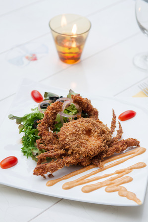 olive green: Deep Fried Soft Shell Crab with green salad Stock Photo