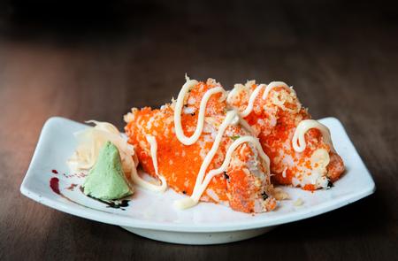 Japanese rice ball, Shrimp roe Onigiri Stock Photo