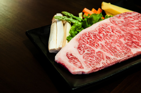 Piece of Wagyu beef striploin steak