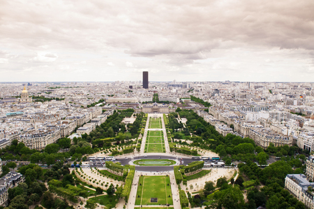 Wild Aerial view of Champ de Mar and Wall of Peace from the Eiffel tower. Paris, France 写真素材