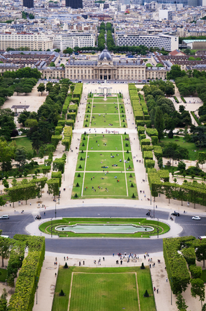 Aerial view of Champ de Mar and Wall of Peace from the Eiffel tower. Paris, France