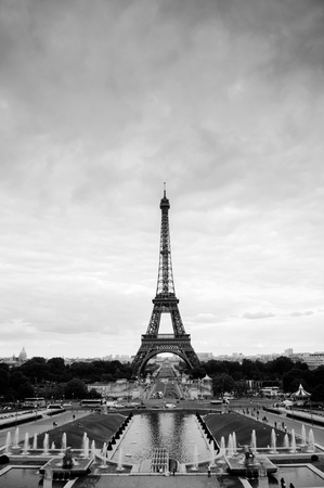 June 9, 2011 Paris, France : View of Eiffel tower from Place du Trocadero, Black and white photo vertical shot 写真素材