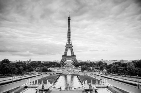 June 9, 2011 Paris, France : View of Eiffel tower from Place du Trocadero, Black and white photo 写真素材