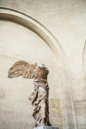 JUNE 8, 2011 PARIS, France : Famous Winged Victory of Samothrace marble sculpture at Louvre museum 報道画像