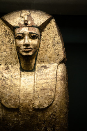 JUNE 8, 2011 PARIS, France : Egyptian Pharaohs sarcophagus exhibits at Louvre museum, one of most famous exhibition in Louvre.