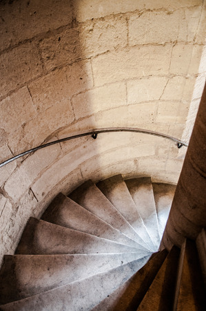 Spiral staircase of Notre Dame Cathedral Paris France.