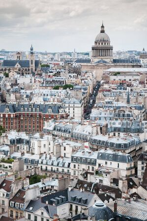 Aerial view of Paris city scape old building and dome of Pantheon