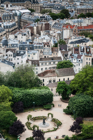 Aerial view of Paris city scape old building and park