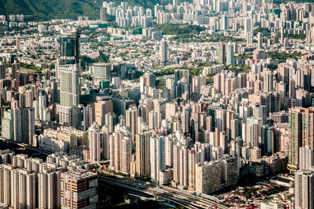 Aerial view of Hong Kong cityscape residental area 写真素材