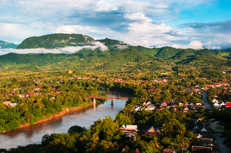 Luang Prabang City landscape aerial view from Phu Si, Laos