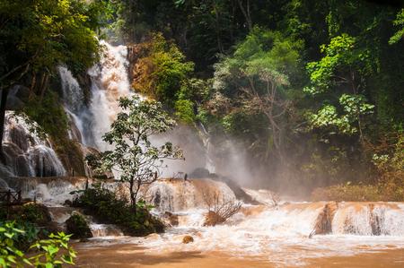 Kuang Si waterfall in Luang Prabang, Laos during monsoon season.