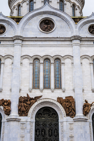 White marble facade of Cathedral of Christ the Saviour in Moscow