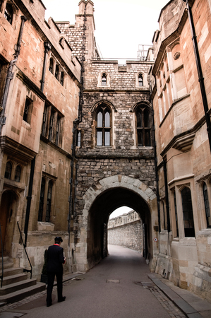 MAR 2, 2011 Windsor, UK : Small alley in  Windsor Castle, a royal residence in the English county of Berkshire, was built in year 1066