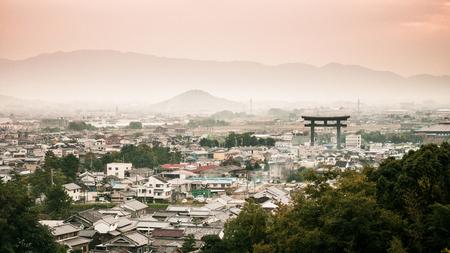 Sunset view and mountain of Miwa town, Sakurai, Nara, Japan