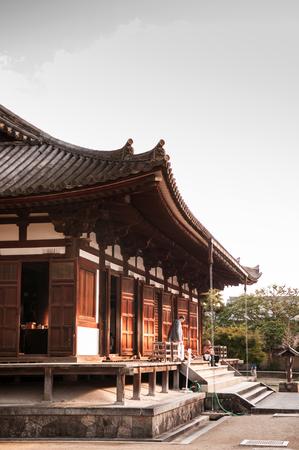 bandera japon: OCT 31, 2011 Nara, JAPAN : Famous Yakushiji temple, Unesco world Heritage site.