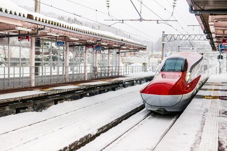 JAN 22, 2014 AKITA, JAPAN : Komachi Super Express Shinkansen E6 series. Operated by JR East for Akita Shinkansen lines 報道画像