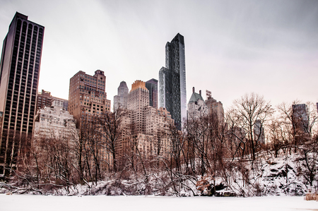 New York  skyscrappers view from central park in winter