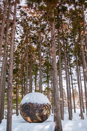 2014 年 1 月 22 日秋田県: 秋田、東北のなまはげ館で森の芸術彫刻。日本 報道画像