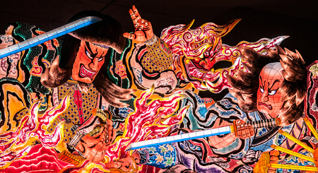 Giant illuminated lantern Nebuta lantern float in Nebuta Warasse, Aomori, Japan